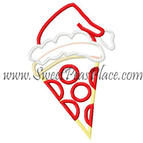 Pizza with Santa Hat Applique Embroidery Design