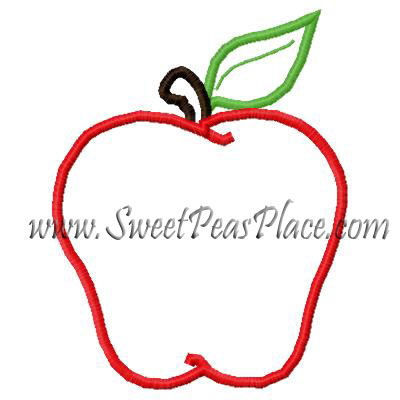 Plain Apple Embroidery Applique Design