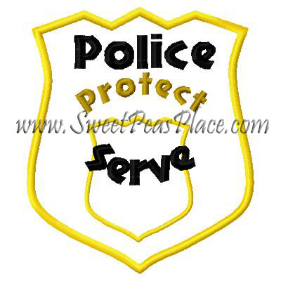 Police Badge Applique Embroidery Design