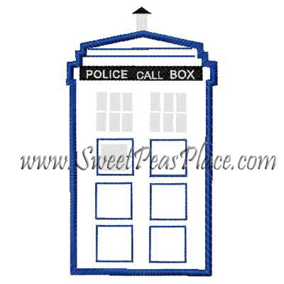 Police Box Applique Embroidery Design