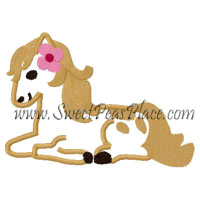 Pony with Flowers Applique Embroidery Design