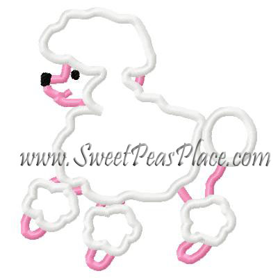 50's Poodle Applique Embroidery Design