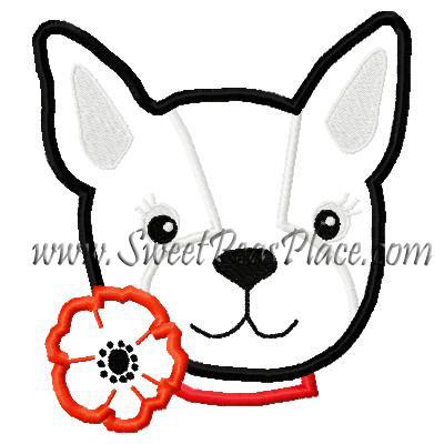 Poppy Love Puppy Applique Embroidery Design