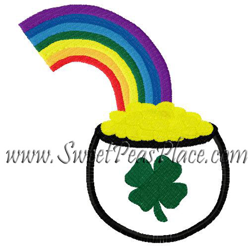 Pot of Gold with Rainbow Applique Embroidery Design