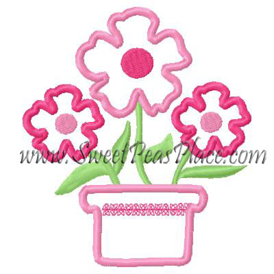 Potted Posie Applique Embroidery Design