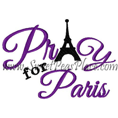 Pray for Paris Embroidery Design