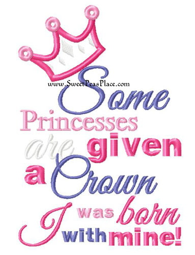Born with a Crown Applique Embroidery Design