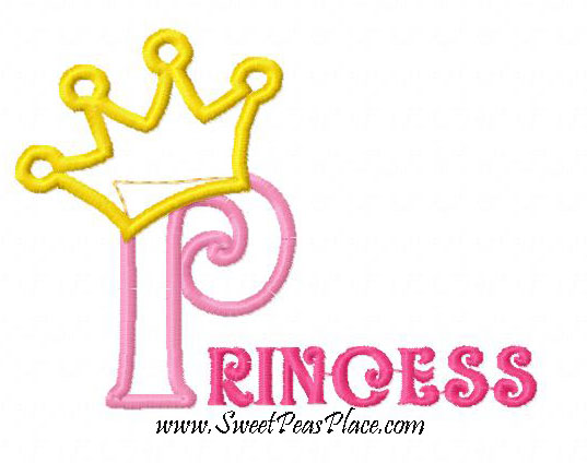 Princess with Crown Applique Embroidery Design