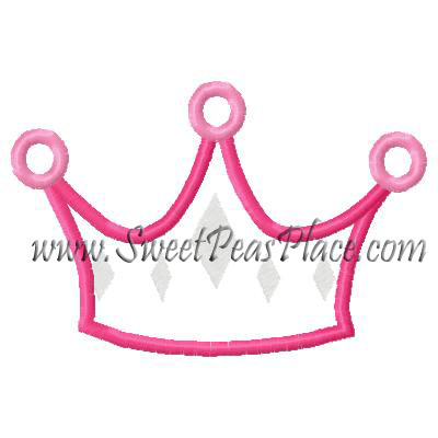 Princess Crown 2 Applique Embroidery Design