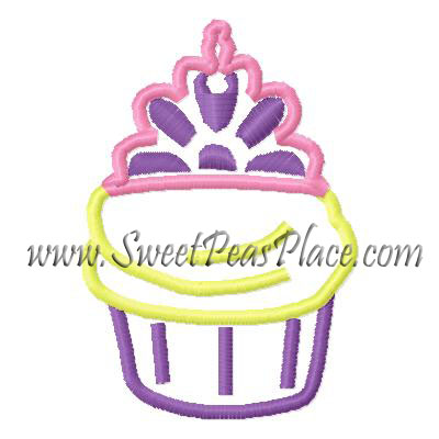 Princess Cupcake Applique Embroidery Design