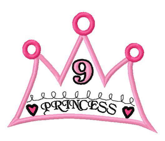 Princess Crown with Nine Applique Embroidery Design
