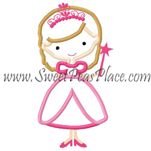 Princess with Wand Applique Embroidery Design