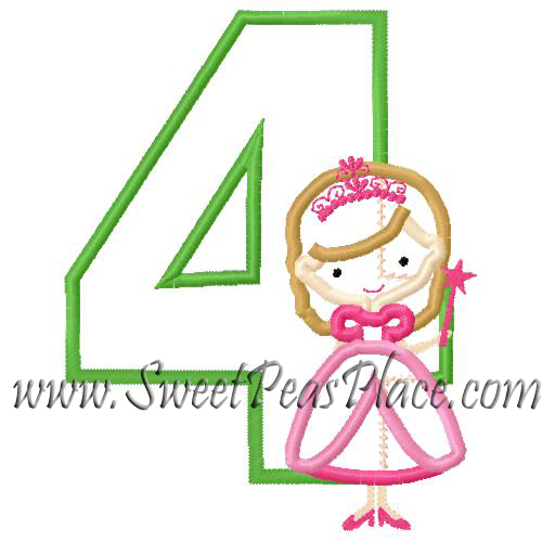 Princess with Wand Number Four Applique Embroidery Design