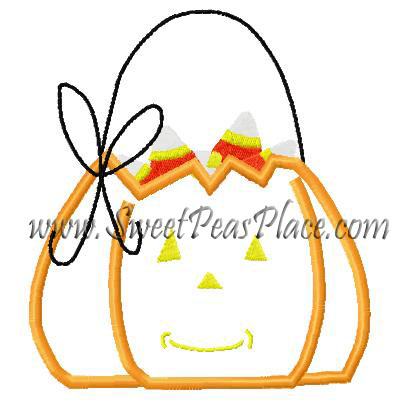 Pumpkin Bucket with Candy Corn Applique Embroidery Design