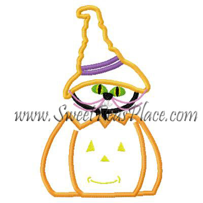 Kitty in Pumpkin Applique Embroidery Design