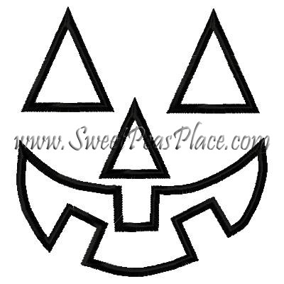 Pumpkin Face Applique Embroidery Design