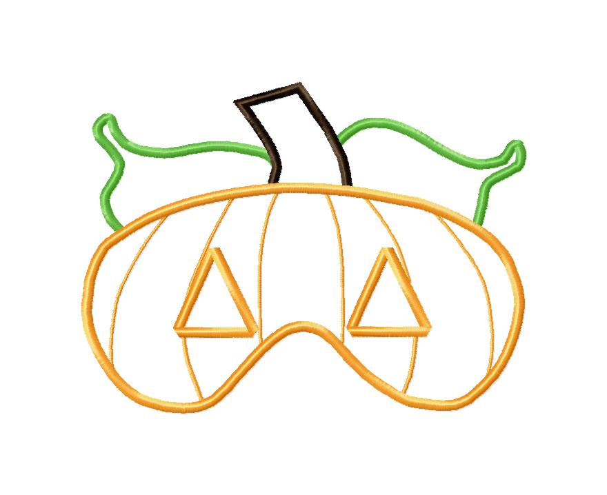 Pumpkin Mask in the Hoop Applique Embroidery Design