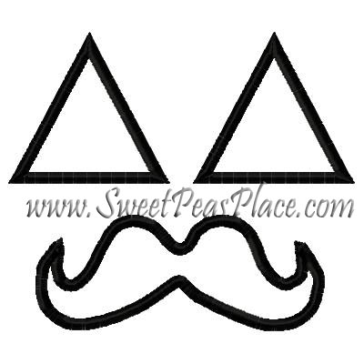 Pumpkin Eyes with Mustache Applique Embroidery Design