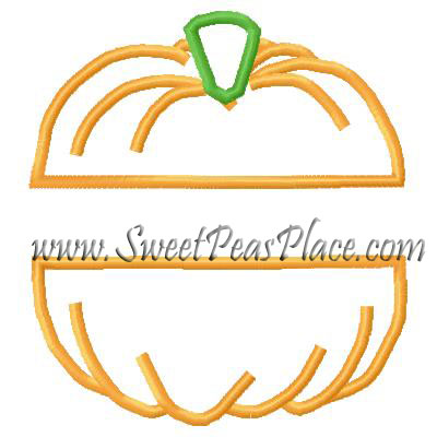 Pumpkin Split Applique Embroidery Design