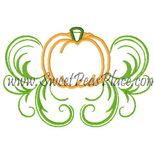 Pumpkin with Swirls Applique Embroidery Design