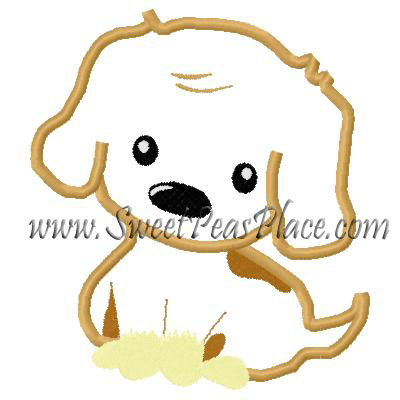 Puppy Sitting Applique Embroidery Design