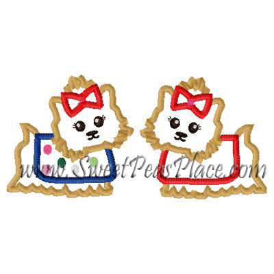 Pups and Kisses Double Yorkie Applique Embroidery