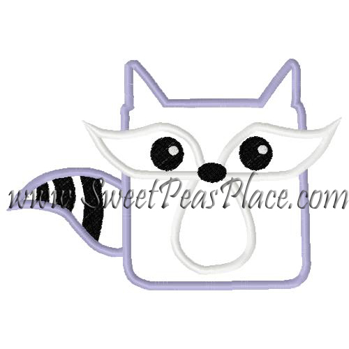 Raccoon Square Applique Embroidery Design