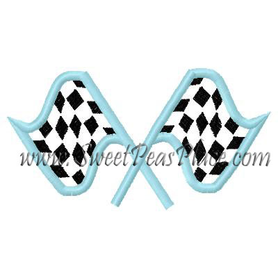 Racing Flag Applique Embroidery Design