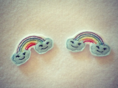 Rainbow and Clouds for Felt Applique Embroidery Design
