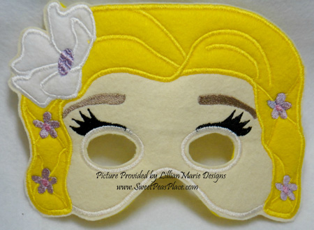 Rapunzel Mask in the Hoop Applique Embroidery Design