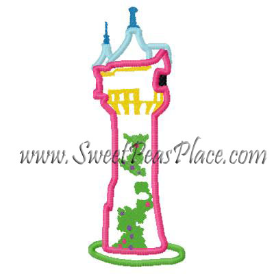 Princess Tower Applique Embroidery Design