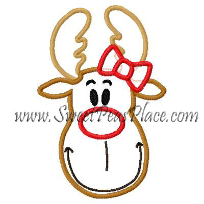 Reindeer with Bow Applique Embroidery Design
