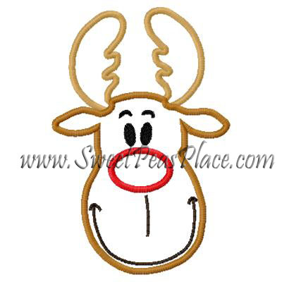 Reindeer Face 2 Applique Embroidery Design