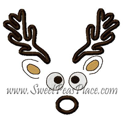 Reindeer Face boy Applique Embroidery Design