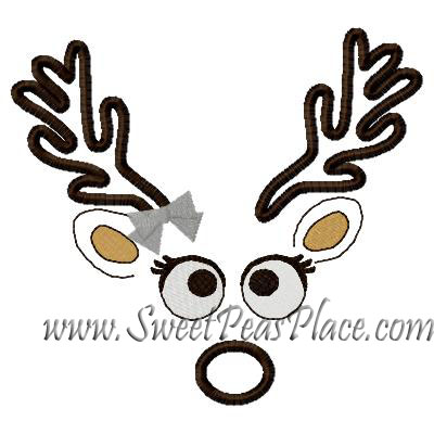 Girl Reindeer Reindeer Face Girl Applique