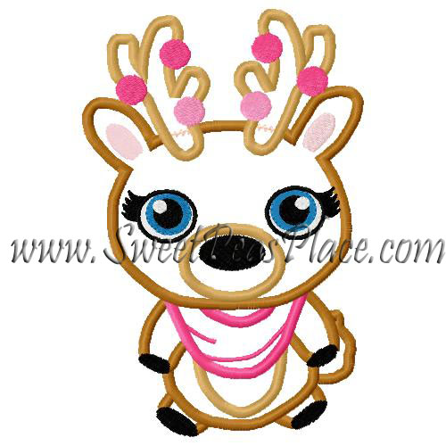 Reindeer Girl with Lights Applique Embroidery Design