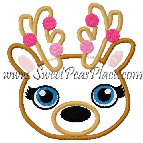 Reindeer Girl Head with Lights Applique Embroidery Design