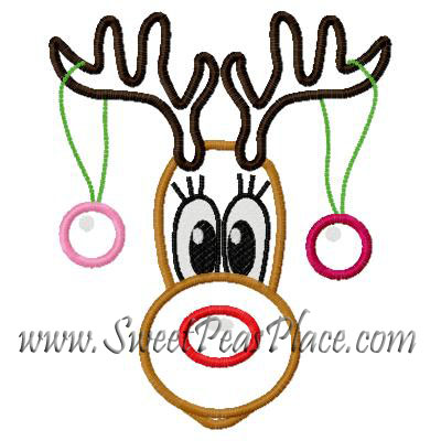 Reindeer with Ornaments 2 Applique Embroidery Design