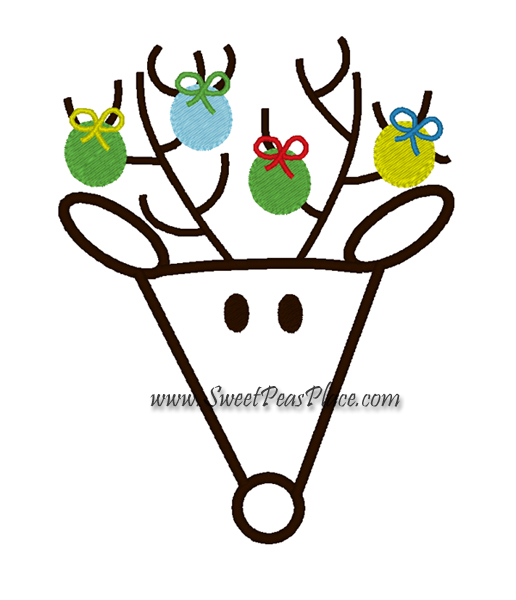 Reindeer with Ornaments Applique Embroidery Design