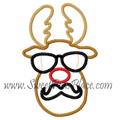 Reindeer with Sunglasses and Mustache Applique Embroidery Design