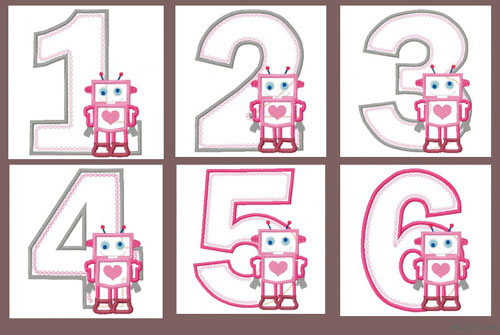 Robot Number Set 1-6 Applique Embroidery Design