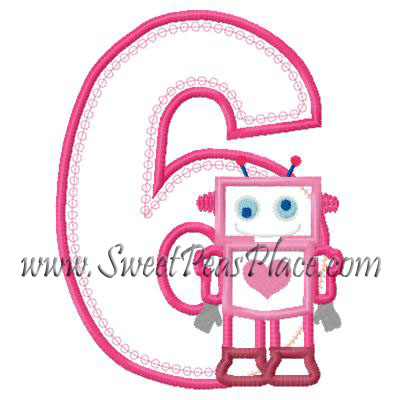 Robot with Number 6 Applique Embroidery Design