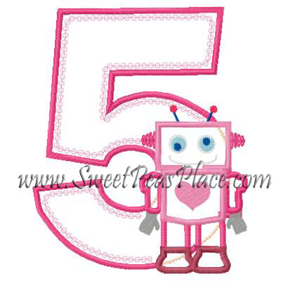 Robot With Number 5 Applique Embroidery Design