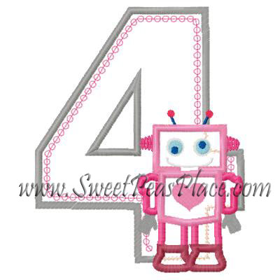 Robot with Number Four Applique Embroidery Design