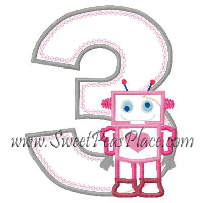 Robot with Number Three Applique Embroidery Design