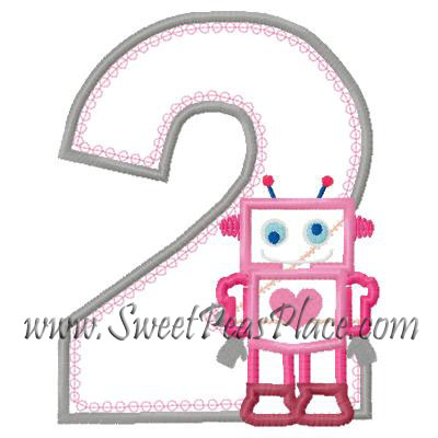 Robot with Number Two Applique Embroidery Design