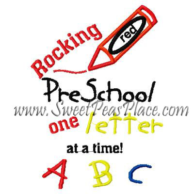 Rocking Pre K One Letter at a time Applique Embroidery Design