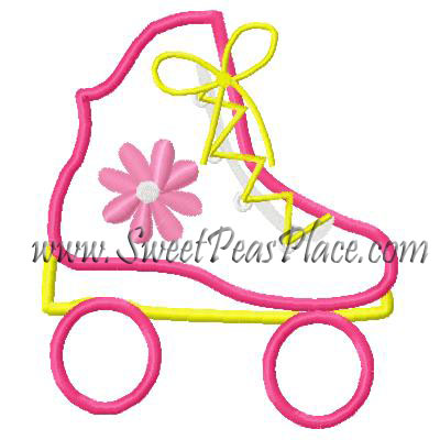 Roller Skate with Flower Applique Embroidery Design