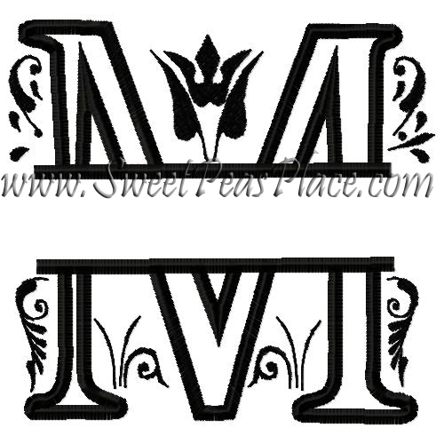 Royal Split M Applique Embroidery Design