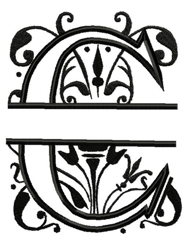 Royal Split C Applique Embroidery Design